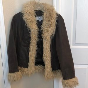 100% leather jacket with fur